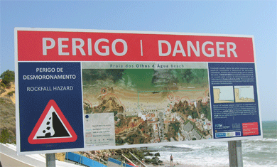 algarve cliffs in danger